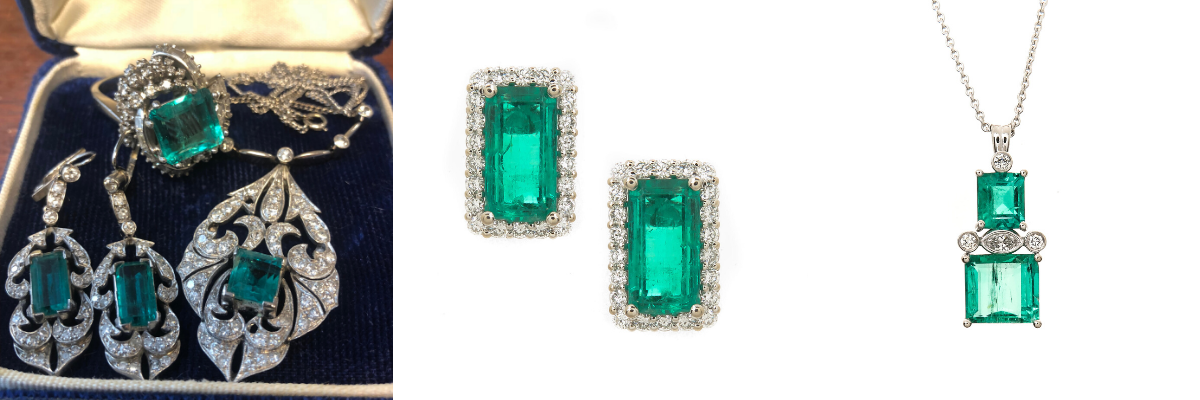 Before and after images creating beautiful new emerald and diamond earrings and necklace