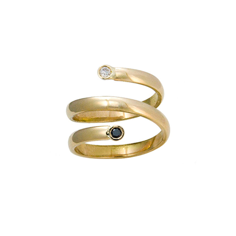 14k Gold with White and Black Diamond Ring Custom Designed Heirloom Jewelry by Susanne Siegel.
