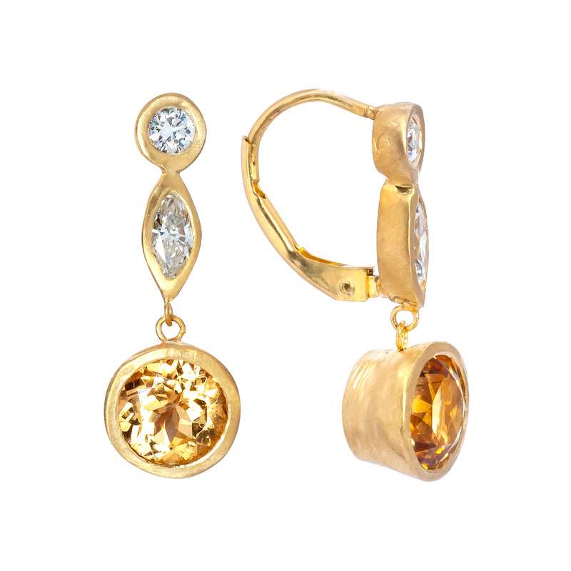 Imperial Topaz & Diamond Earrings