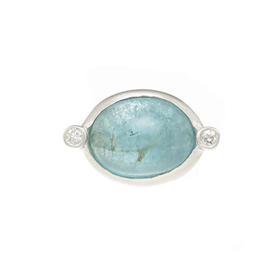 Sterling Silver Aquamarine Cabochon with Diamond Accents Custom Designed Heirloom Jewelry by Susanne Siegel.