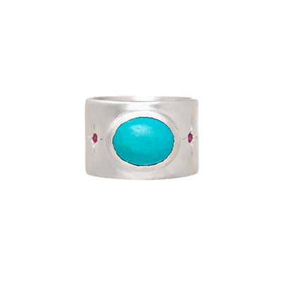 Sterling Silver Sleeping Beauty Turquoise with Pink Tourmaline Accents Ring Custom Designed Heirloom Jewelry by Susanne Siegel.