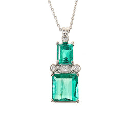 Platinum Emerald and Diamond Necklace Custom Designed Heirloom Jewelry by Susanne Siegel.
