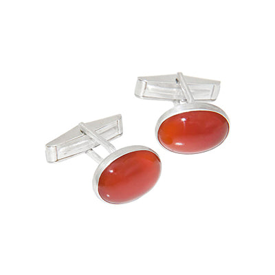 Carnelian Sterling Silver Cufflinks Custom Designed Heirloom Jewelry by Susanne Siegel.