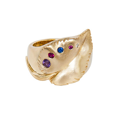 14k Gold Heirloom Birthstone Ring Custom Designed Heirloom Jewelry by Susanne Siegel.