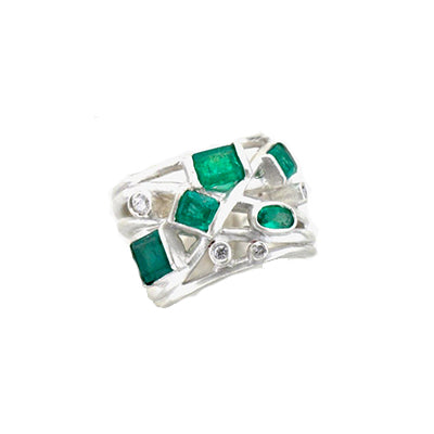 Emerald Sterling Silver Statement Ring Custom Designed Heirloom Jewelry by Susanne Siegel.