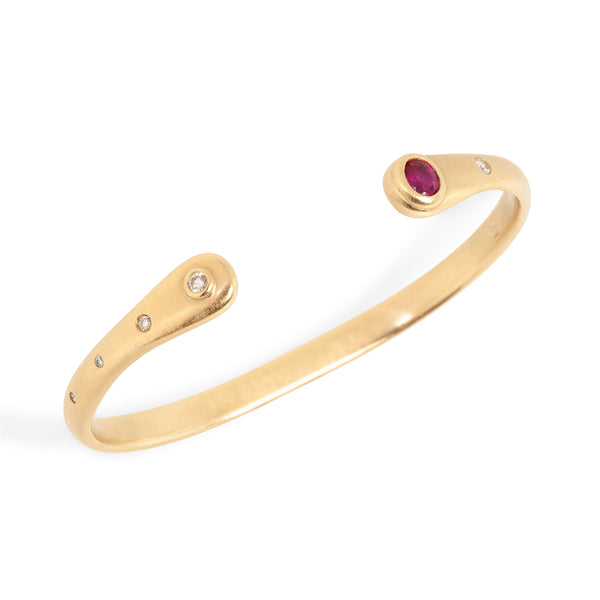 Ruby, Diamond, 14k Gold Torque Bracelet Custom Designed Heirloom Jewelry by Susanne Siegel.