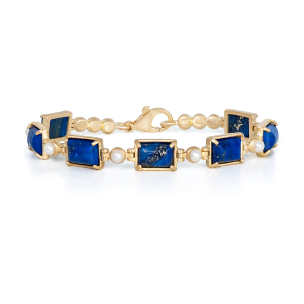 Lapis Lazuli, Pearl, and 18k Gold Bracelet Custom Designed Heirloom Jewelry by Susanne Siegel.