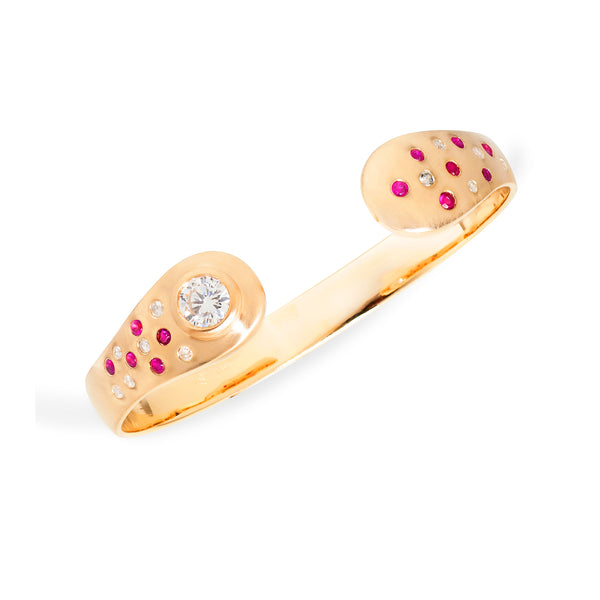 Ruby and Diamond 14k Gold Torque Bracelet Custom Designed Heirloom Jewelry by Susanne Siegel.