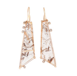 Bahia Golden Rutilated Quartz & Champagne Diamond Earrings