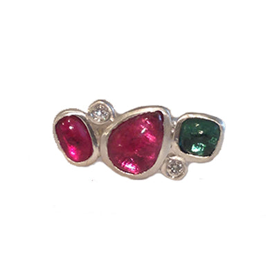 Pink and Green Tourmaline Cabochon Ring with Diamond Facetes in Sterling Silver Custom Designed Heirloom Jewelry by Susanne Siegel.