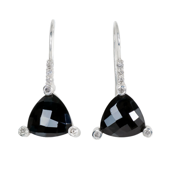 Black Spinel Trillion Earrings