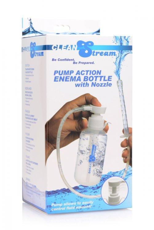 XR Brands Anal Toys Cleanstream Pump Action Enema Bottle W- Nozzle 300ml