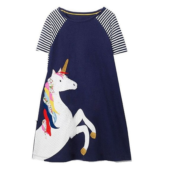 b3c0a5298c ... Kids Dresses for Girls Unicorn Vestidos 2019 Summer Baby Girl Clothes  Costume Striped Animal Pattern Princess ...