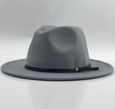 f36c447fb Women Men Wool Vintage Gangster Trilby Felt Fedora Hat With Wide Brim  Gentleman Elegant Lady Winter Autumn