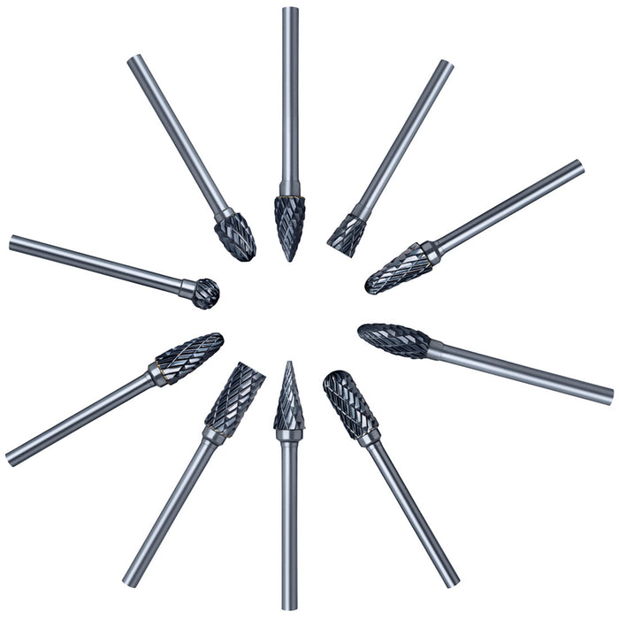 Cutting Burr Bits Power Carbide Rotary Tools Set (10pcs 3x6mm)