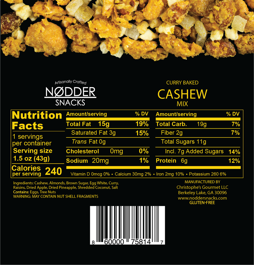 Curry Baked Cashew Mix - 2 Pack Snack Size