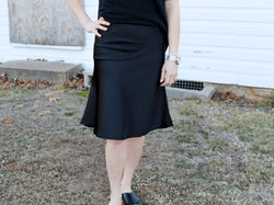 Black Satin Skirt - Hazlee