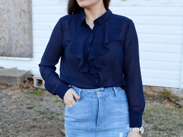 Sheer Ruffle Top—Navy - Hazlee