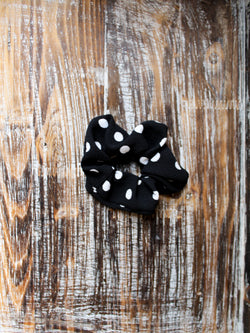 Scrunchie—Black Polka Dot - Hazlee