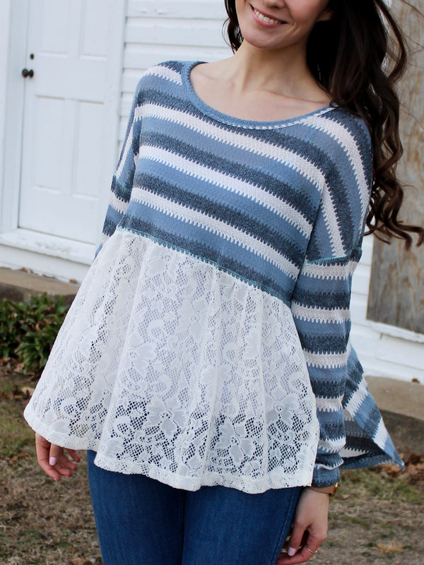 Blue Lace Sweater - Hazlee