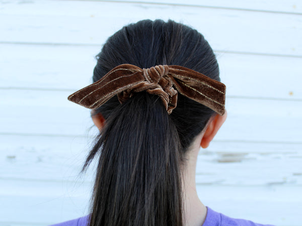 Scrunchie—Brown Velvet - Hazlee