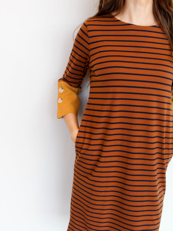 Rust Midi Dress - Hazlee