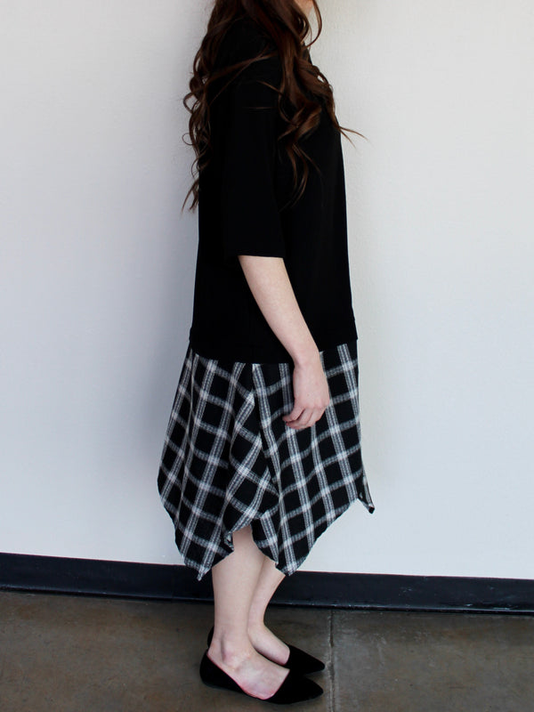 Plaid Hem Dress - Hazlee