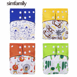 [simfamily]2019 New 4pcs/set Washable Bamboo Charcoal Diaper Adjustable Nappy Reusable Cloth Diapers Available 3-15kg Baby