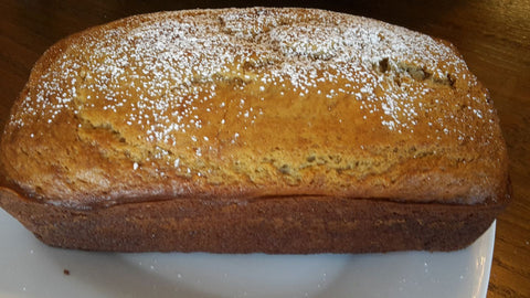 Banana Bread made with yogurt and blood orange olive oil