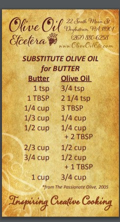 Substitution Chart for Butter to Oil