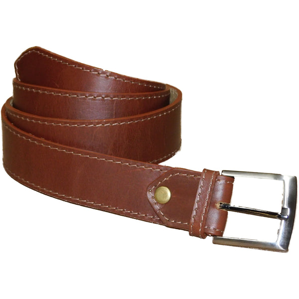 Leather Belt 4cm - Brown - Douroukas Leather Goods