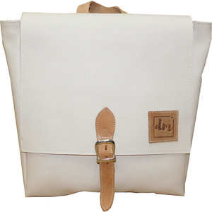 Woman's Leather & Cloth Backpack - Douroukas Leather Goods