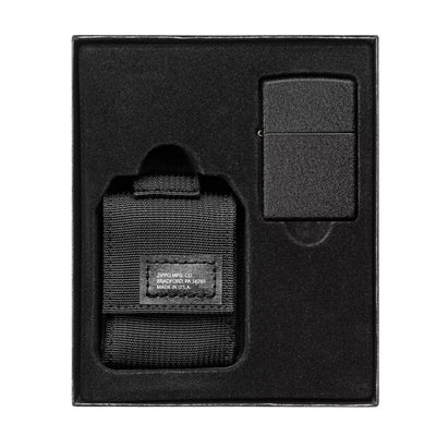 Black Tactical Pouch and Black Crackle Windproof Lighter Gift Set