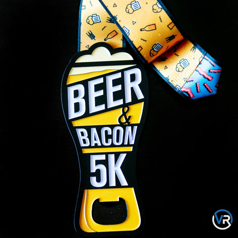 Image of This is for all the Beer & Bacon lovers who will run for either! Show off your Beer & Bacon 5K Bottle Opener Medal and use it to open a nice cool refreshment! Perfect for Father's Day.