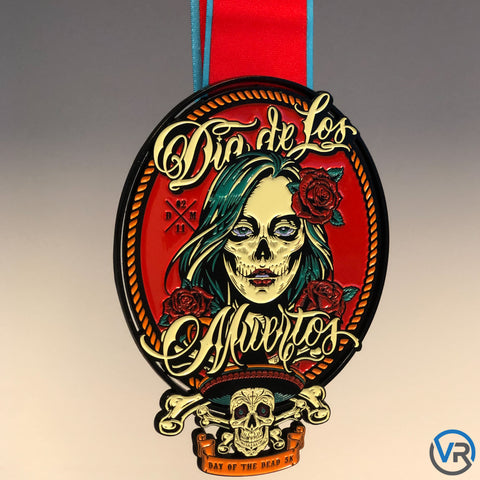 Image of Celebrate the Precious Memories of a Loved One with a Day of the Dead Virtual Run. You don't need to wait until the fall to participate in the Day of the Dead 5K! Run/walk/treadmill a 5K (you can even paint your face!) and celebrate your achievement with this gorgeous medal.
