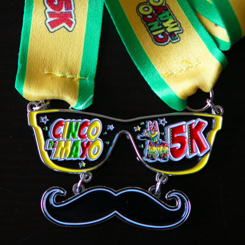 Image of cinco de mayo 5k virtual run heavy finishers medal sold out sunglasses mustache