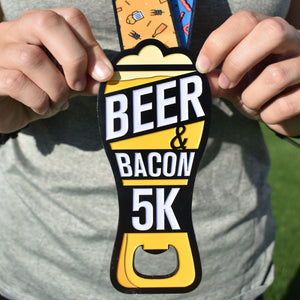 "Beer & Bacon 5K Bottle Opener Medal - Limited Edition [6"" Medal] - VirtualRun"