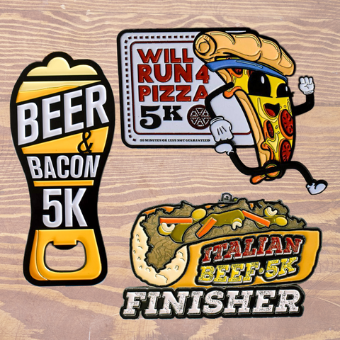 Virtual Run Food Package Three medal set discount with beer and bacon 5k and will run for pizza 5k and italian beef 5k chicago