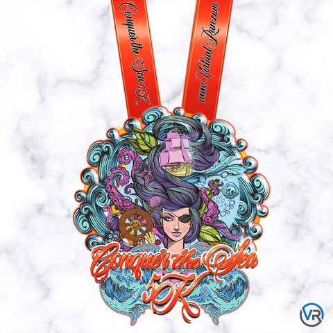 Virtual Run - virtualrun.com - limited edition conquer the sea virtual run 5k heavy finishers medal