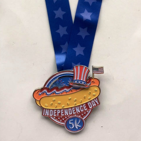 Image of Independence Day 5k virtual run heavy finishers hot dog fireworks and flag medal 4th of july