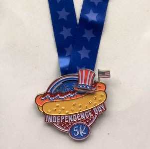 Independence Day 5k virtual run heavy finishers hot dog fireworks and flag medal 4th of july
