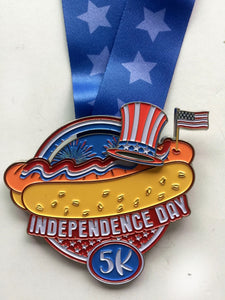 Independence Day 5k virtual run heavy finishers hot dog fireworks and flag medal.