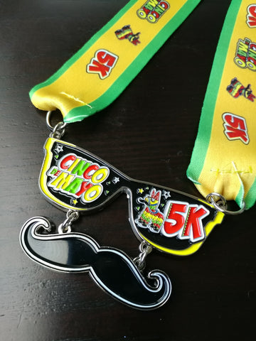 Image of cinco de mayo 5k virtual run heavy finishers medal sold out sunglasses moustache