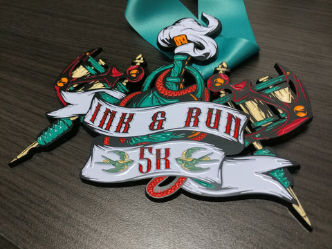 Image of Ink & Run, 5K, heavy 5k race medal tattoo virtual run ribbon finishers medal ink and run