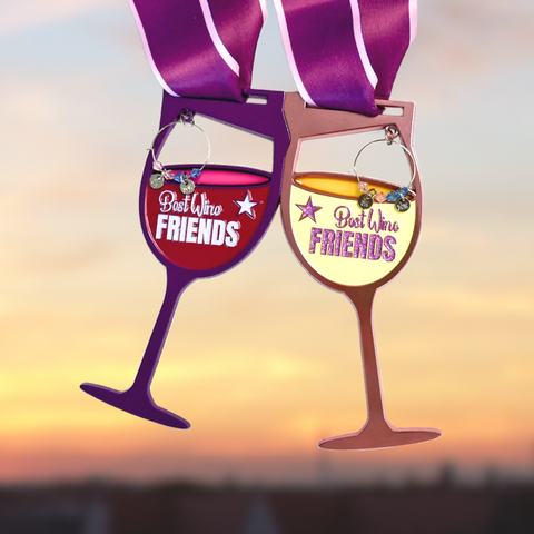 Wine glass finisher medal set with wine charms for 5K and 10K virtual run