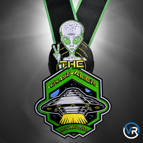 Image of Virtual Run Chase The Alien 5K 10K run medal with glow in the dark space alien from Area 51