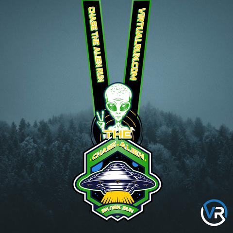 Image of Virtual Run Chase The Alien 5K and 10K finisher medal with alien giving the peace sign