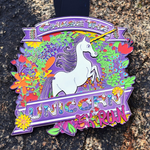 Purple finisher medal for Chase The Unicorn 5K virtual run with flowers design