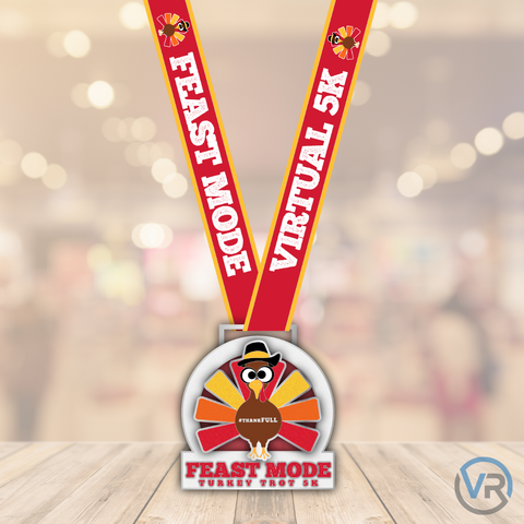 Image of Feast Mode Turkey Trot 5K finisher medal for five kilometer virtual run with shiny turkey that sparkles for virtual race