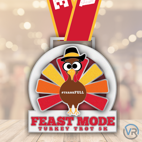 Close up of Feast Mode Turkey Trot 5K finisher medal for five kilometer virtual run with shiny turkey that sparkles for virtual race with fun turkey character